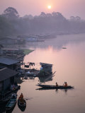 Mekong River, River Boat Houses, Thailand Photographic Print by Steve Vidler
