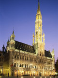 Grand Place, Town Hall, Night View, Brussels, Belgium Photographic Print by Steve Vidler