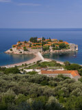 Island of Sveti Stefan and Adriatic Sea, Budva Riviera, Montenegro Photographic Print by Gavin Hellier