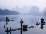 Cormorant Fishermen, Li River, Yangshou, Guilin, Guangxi Province, China Photographic Print by Steve Vidler