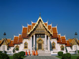 Marble Temple, Monks, Bangkok, Thailand Photographic Print by Steve Vidler