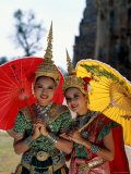 Girls Dressed in Traditional Dancing Costume, Bangkok, Thailand Photographic Print by Steve Vidler