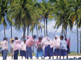 School Children Dancing, Zanzibar, Tanzania Photographic Print by Peter Adams