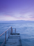 Small Pier at Dusk, Lake Ohrid, Ohrid, Macedonia Photographic Print by Walter Bibikow