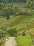 Villagers on Road, Maramures, Romania Photographic Print by Russell Young