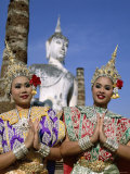 Girls Dressed in Traditional Dancing Costume at Wat Mahathat, Sukhothai, Thailand Photographic Print by Steve Vidler