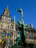 Brabo Fountain and Town Hall, Antwerp, Eastern Flanders, Belgium Photographic Print by Steve Vidler