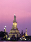 Temple of Dawn and Chao Phraya River, Night View, Bangkok, Thailand Photographic Print by Steve Vidler