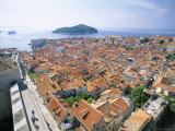 The Old City Rooftops and Island of Lokrum, Dubrovnik, Dalmatian Coast, Croatia Photographic Print by Steve Vidler