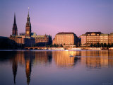 City Skyline and Binnenalster Lake, Hamburg, Schleswig-Holstein, Germany Photographic Print by Steve Vidler
