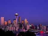 City Skyline and Space Needle, Mount Rainier in Background, Seattle, Washington, USA Photographic Print by Steve Vidler
