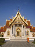 Marble Temple, Monk, Bangkok, Thailand Photographic Print by Steve Vidler