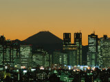 City Skyline and Mount Fuji, Night View, Tokyo, Honshu, Japan Photographic Print by Steve Vidler
