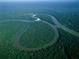 Amazon River, Amazon Jungle, Aerial View, Brazil Photographic Print by Steve Vidler