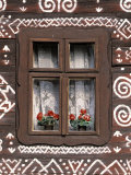 Window of Wooden Built Cottage, Cichany, Central Slovakia Photographic Print by Walter Bibikow