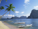 Outriggers at El Nido, Bascuit Bay, Palawan, Philippines Photographic Print by Steve Vidler