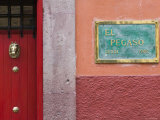 Mexico, Guanajuato State, San Miguel de Allende, El Pegaso Cafe Sign Photographic Print by Walter Bibikow
