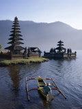 Lake Bratan, Pura Ulun Danu Bratan Temple and Boatman, Bali, Indonesia Photographic Print by Steve Vidler