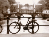 Bike on Bridge and Canal, Amsterdam, Holland Photographic Print by Jon Arnold