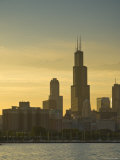 Lake Michigan and Skyline Including Sears Tower, Chicago, Illinois Photographic Print by Alan Copson