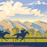 Horse Racing with Mountain Landscape Photographic Print