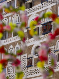 Frontage of Buildings and Floral Decorations, Sana&#39;a, Yemen Fotografie-Druck von Peter Adams