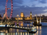 Millennium Wheel and Houses of Parliament, London, England Fotoprint van Peter Adams