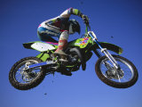 Jumping with Dirt Bike in Midair Photographic Print