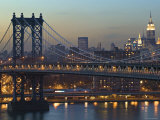 Manhattan Bridge and Empire State Bldg, New York, USA Photographic Print by Walter Bibikow