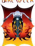 Bike Week Logo with a Motorcycle and Vibrant Flames Photographic Print