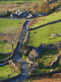 Country lane and houses, Snowdonia, North Wales Photographic Print by Peter Adams