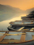 Boats on Lake, Wales Photographic Print by Peter Adams