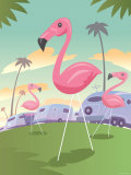 Classic Pink Flamingo Lawn Ornaments in Tropical Campground Photographic Print