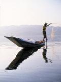 Fisherman, Lake Inle, Burma Photographic Print by Peter Adams