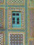 Tiling Round Blue Window, Shrine of Hazrat Ali, Mazar-I-Sharif, Afghanistan Photographic Print by Jane Sweeney