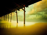 Pier over Calm Waters and Golden Sand Photographic Print by Jan Lakey