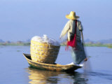 Woman on Boat, Lake Inle, Burma Photographic Print by Peter Adams