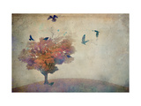 Oversized Crows Flying from Tree Fotoprint van Mia Friedrich