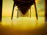 Pier over Golden Sand and Water Photographie par Jan Lakey