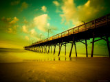 Deserted Pier under Turquoise Sky Photographic Print by Jan Lakey