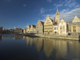 River Leie and Guildhouses on Graslei, Ghent, East Flanders, Belgium Photographic Print by Alan Copson