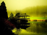 Japanese Gazebo with Views of Hills and Water Photographic Print by Jan Lakey