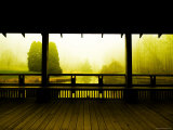 Covered Deck Looking onto Peaceful River and Fog Photographic Print by Jan Lakey