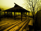 Japanese Gazebo on Deck overlooking Water and Hills Photographic Print by Jan Lakey