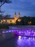 Mur Insel and Mariahilfkirche Church, Graz, Styria, Austria Photographic Print by Walter Bibikow