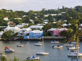 Colourful Houses and Boats, Hamilton Harbour, Hamilton, Bermuda Photographic Print by Gavin Hellier