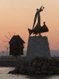 Sculpture on a Rock in the Harbour, Nesebar, Black Sea Coast, Bulgaria Photographic Print by Gavin Hellier