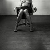 Pentacon Six Camera Shot of Topless Woman in Fishnet Stockings Photographic Print by Rafal Bednarz
