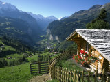 Alpine Cabin, Wengen and Lauterbrunnen Valley, Berner Oberland, Switzerland Photographic Print by Doug Pearson