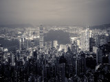 Puerto de Victoria y silueta de la ciudad desde la Cumbre Victoria, Hong Kong, China  Lámina fotográfica por Jon Arnold